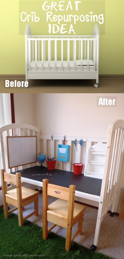 DIY Crib Conversion to Practical and Fun Kids Art Station and Desk