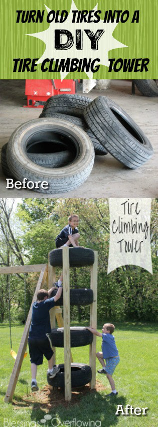 Turn Old Used Tires into a DIY Tire Climbing Tower