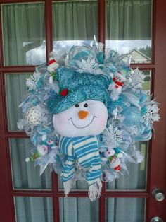 Blue Snowman Deco Mesh Wreath